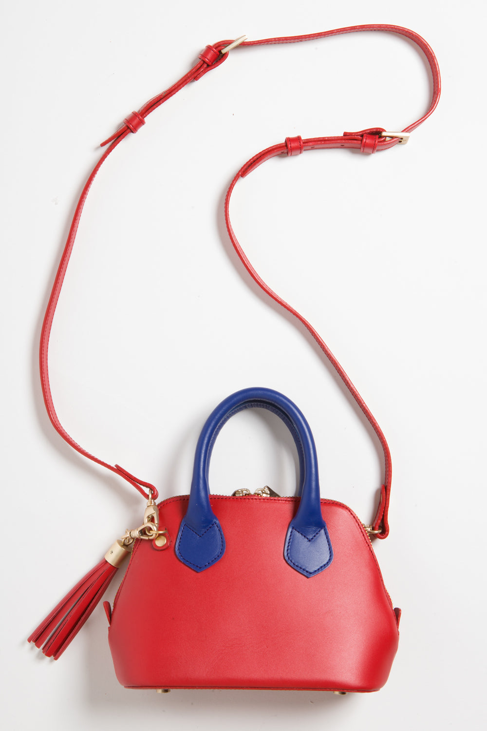 Red & Cobalt Blue Smooth Leather 'Watson Micro' Tote | Mel Boteri | Long Adjustable Strap View