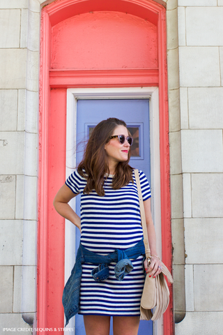Liz Adams of Sequins & Stripes With Her Custom Mel Boteri 'Taylea' Fringe Handbag