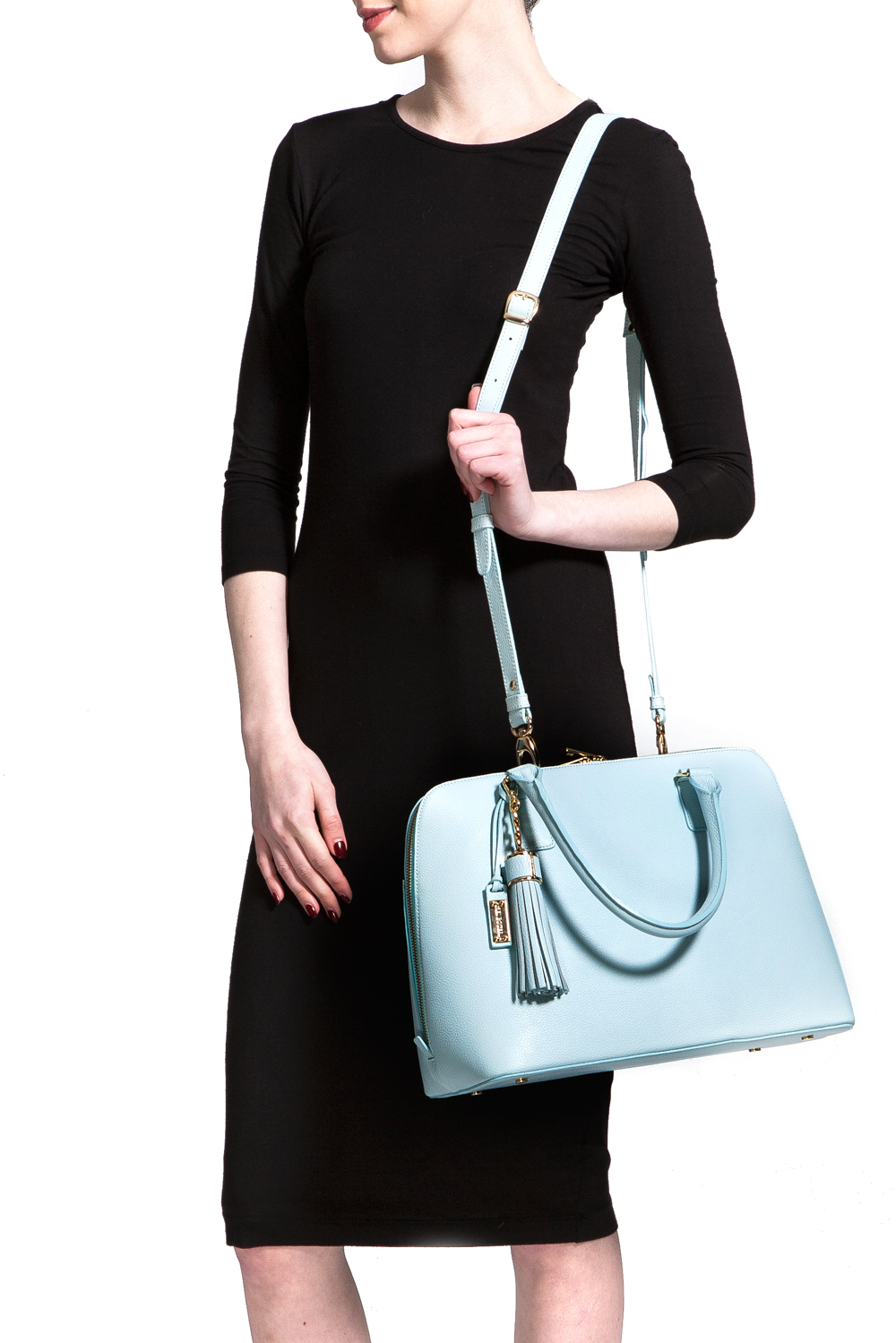 Mel Boteri | Serenity Blue Leather 'Watson' Tote | Shoulder Strap