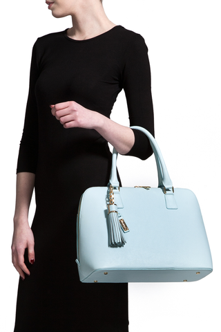 Mel Boteri | Serenity Blue Leather 'Watson' Tote | Model