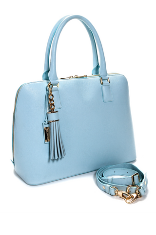 Mel Boteri | Serenity Blue Leather 'Watson' Tote | Side