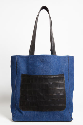 Dark Denim 'Stuart' Carryall Tote | Mel Boteri | Croc-Emboss Leather Pocket
