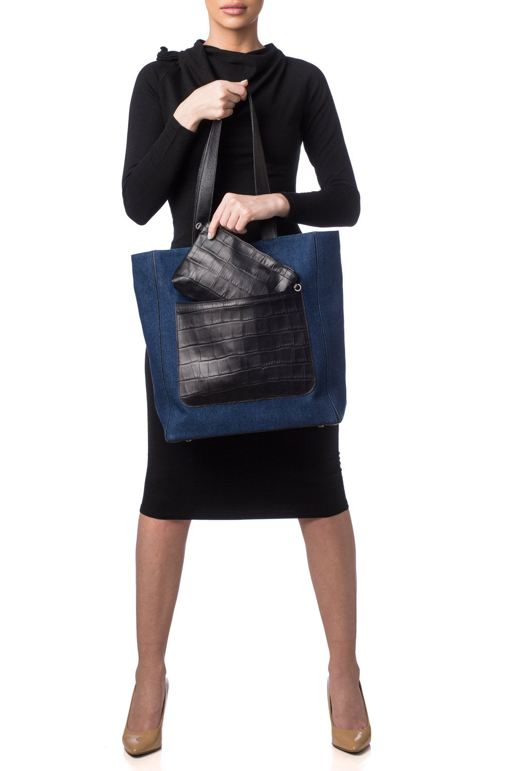 Dark Denim 'Stuart' Carryall Tote | Mel Boteri | Model View