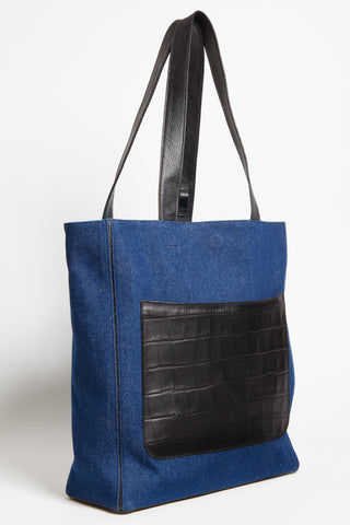 Dark Denim 'Stuart' Carryall Tote | Mel Boteri | Side View
