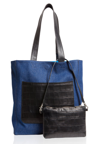 Dark Denim 'Stuart' Carryall Tote | Mel Boteri | Front View