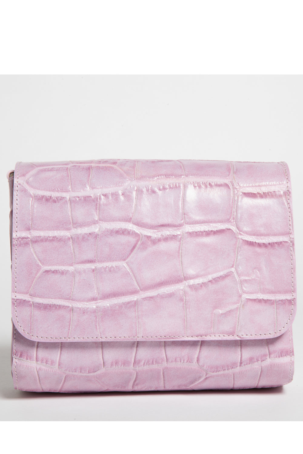 'Gema' Small Shoulder Bag in Sweet Lilac, Croc-Emboss Leather | Mel Boteri | Clutch View