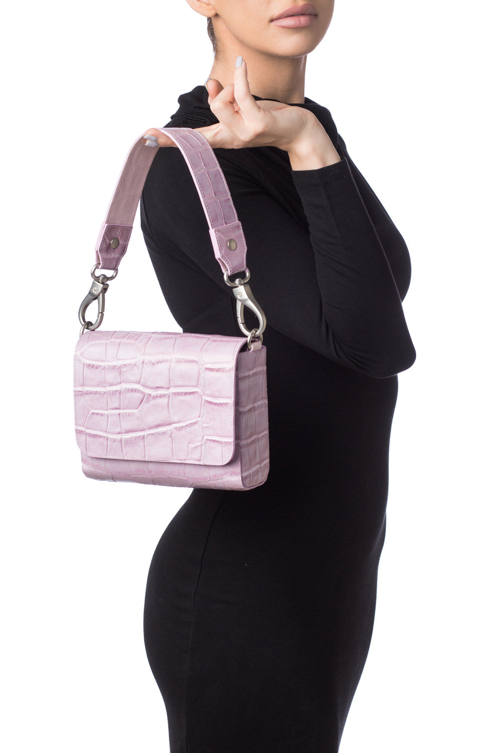 'Gema' Small Shoulder Bag in Sweet Lilac, Croc-Emboss Leather | Mel Boteri | Model View