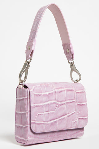 'Gema' Small Shoulder Bag in Sweet Lilac, Croc-Emboss Leather | Mel Boteri | Short Strap View