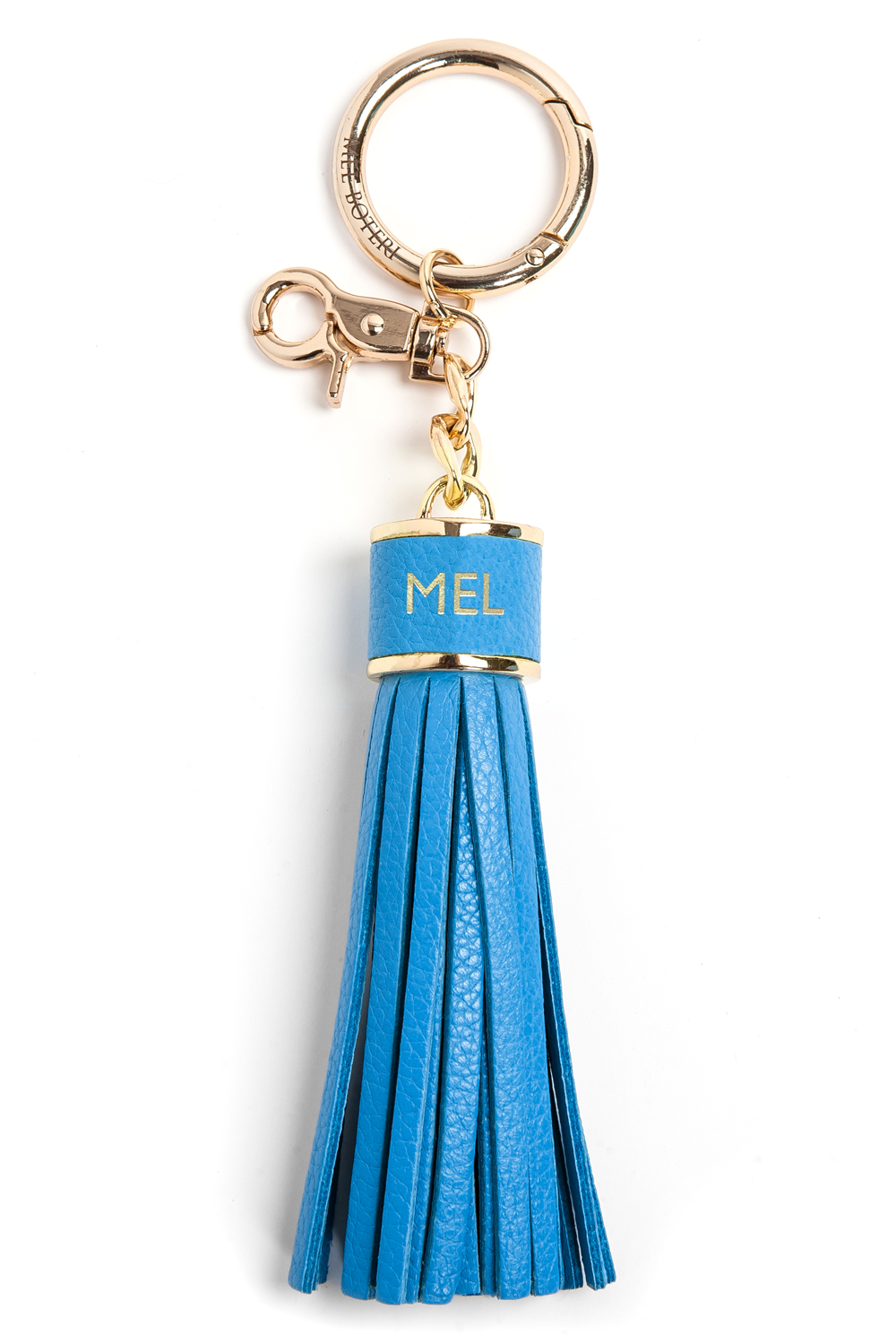 The Mel Boteri Pebbled-Leather Tassel Charm | Aqua Leather With Gold Hardware | Mel Boteri Gift Ideas