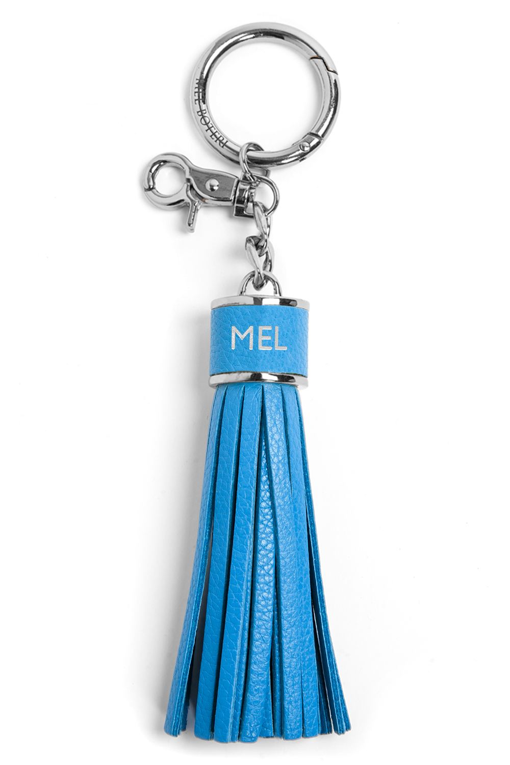 The Mel Boteri Pebbled-Leather Tassel Charm | Aqua Leather With Silver Hardware | Mel Boteri Gift Ideas