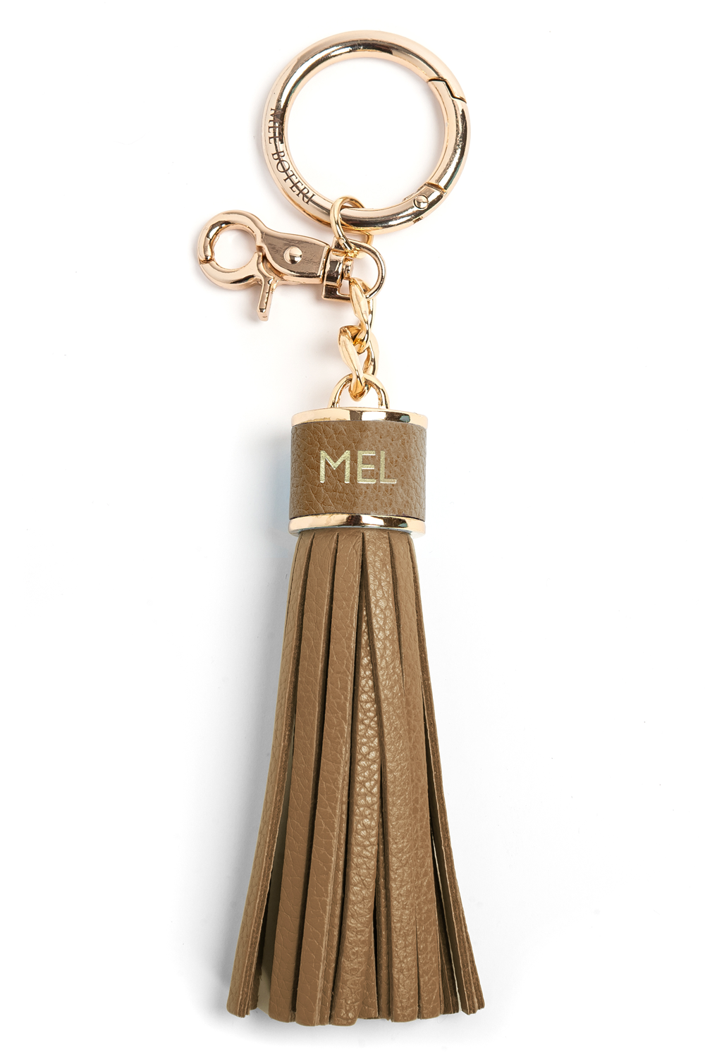 The Mel Boteri Pebbled-Leather Tassel Charm | Biscotti Leather With Gold Hardware | Mel Boteri Gift Ideas