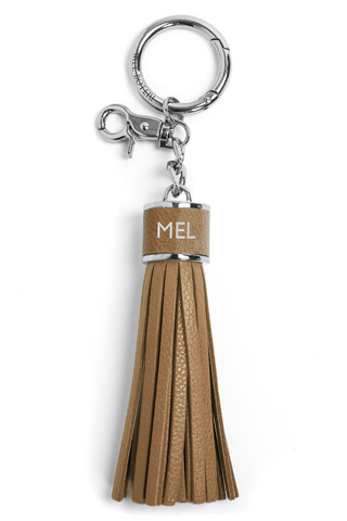 The Mel Boteri Pebbled-Leather Tassel Charm | Biscotti Leather With Silver Hardware | Mel Boteri Gift Ideas