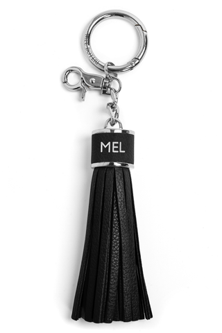 The Mel Boteri Pebbled-Leather Tassel Charm | Black Leather With Silver Hardware | Mel Boteri Gift Ideas