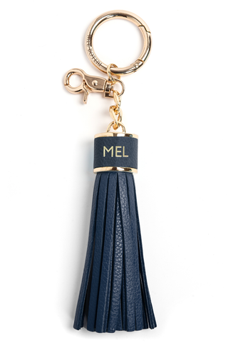 The Mel Boteri Pebbled-Leather Tassel Charm | Denim Leather With Gold Hardware | Mel Boteri Gift Ideas