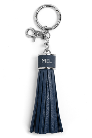 The Mel Boteri Pebbled-Leather Tassel Charm | Denim Leather With Silver Hardware | Mel Boteri Gift Ideas
