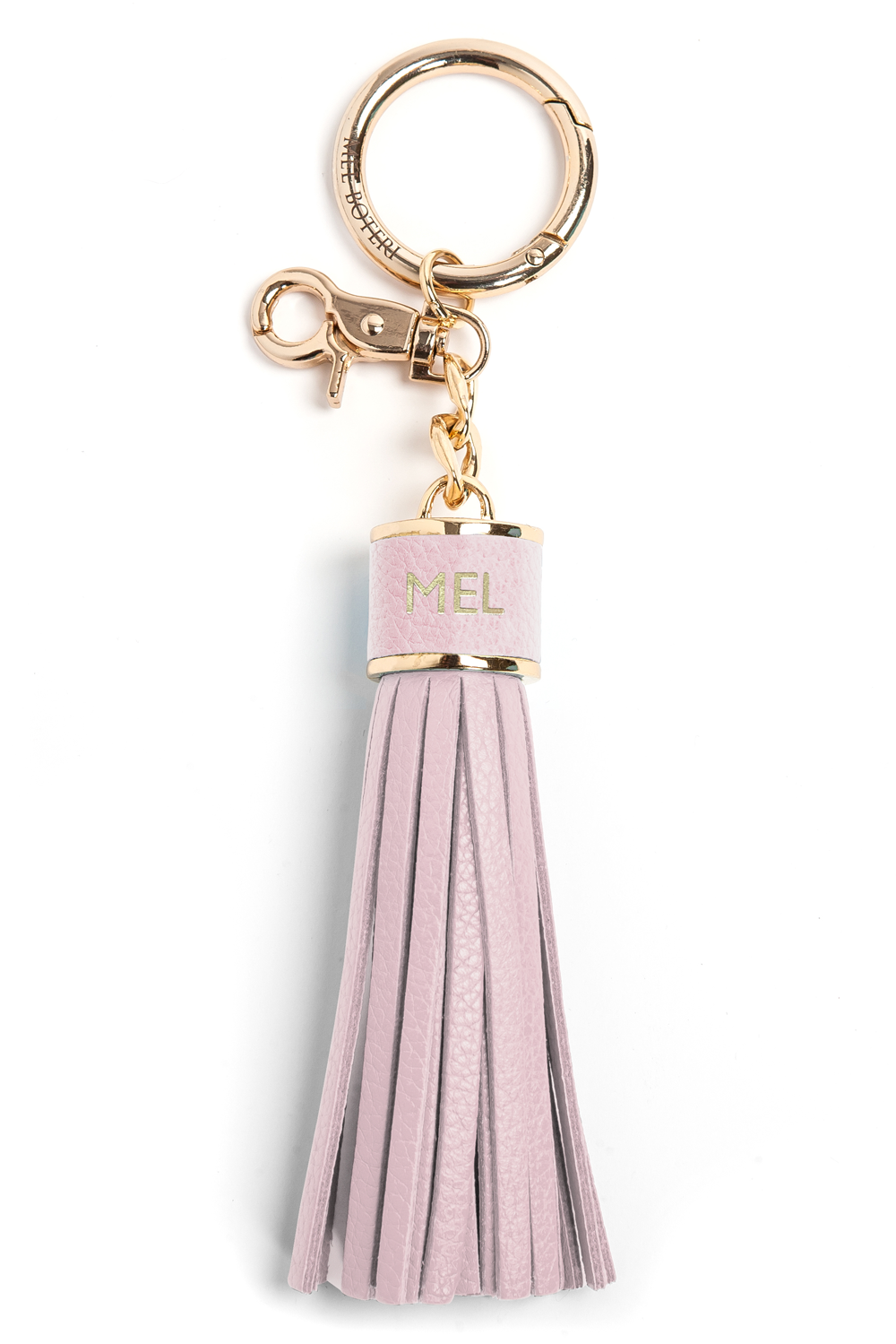 The Mel Boteri Pebbled-Leather Tassel Charm | Doll Leather With Gold Hardware | Mel Boteri Gift Ideas