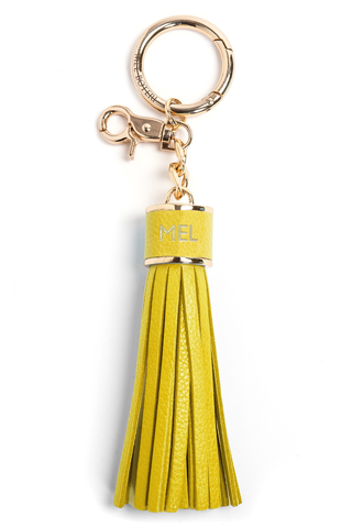 The Mel Boteri Pebbled-Leather Tassel Charm | Lemon Leather With Gold Hardware | Mel Boteri Gift Ideas