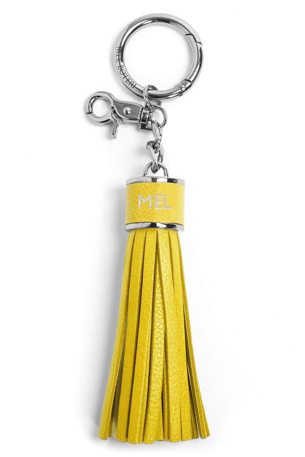 The Mel Boteri Pebbled-Leather Tassel Charm | Lemon Leather With Silver Hardware | Mel Boteri Gift Ideas