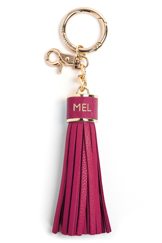 The Mel Boteri Pebbled-Leather Tassel Charm | Magenta Pebbled Leather With Gold Hardware | Mel Boteri Gift Ideas