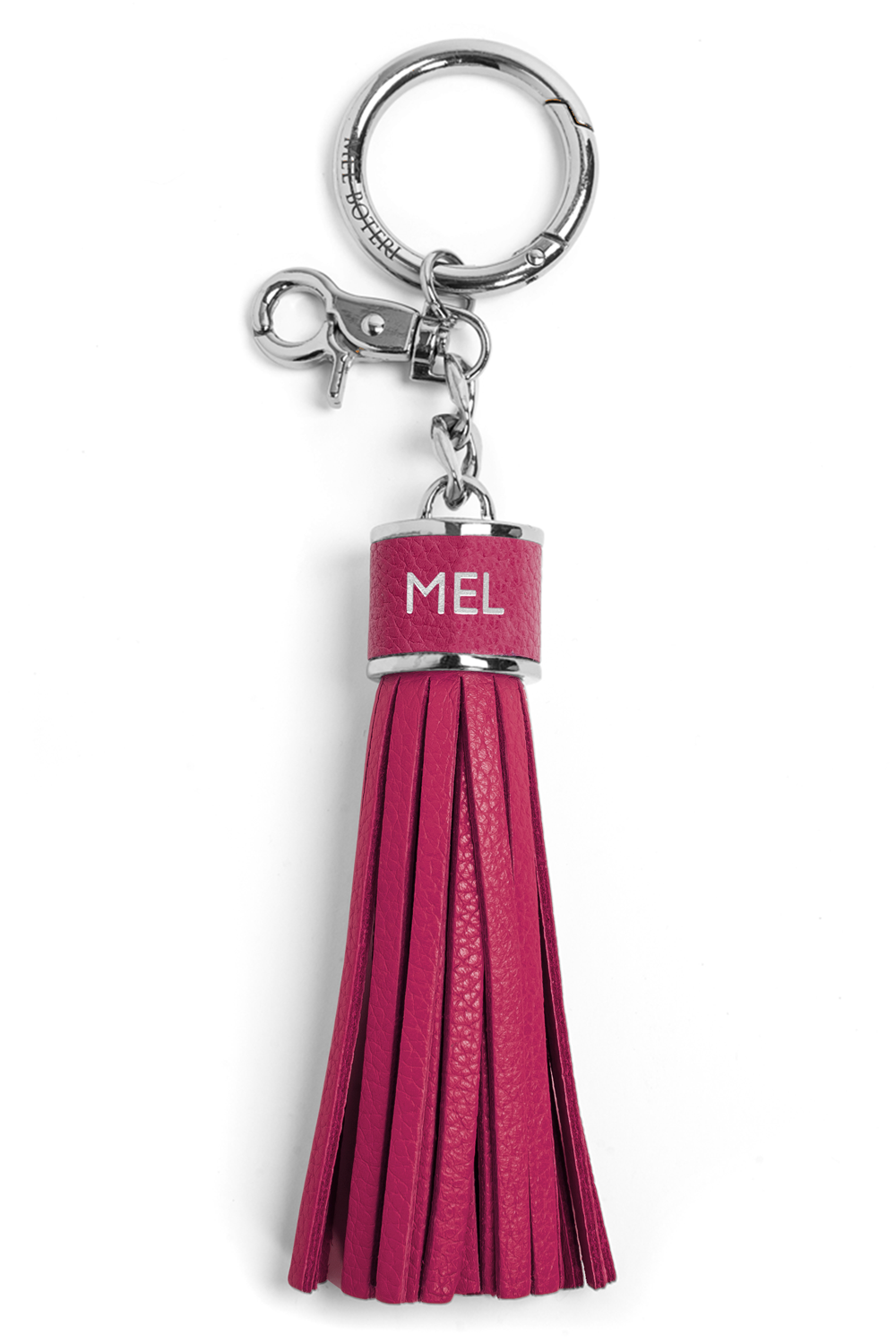 The Mel Boteri Pebbled-Leather Tassel Charm | Magenta Leather With Silver Hardware | Mel Boteri Gift Ideas