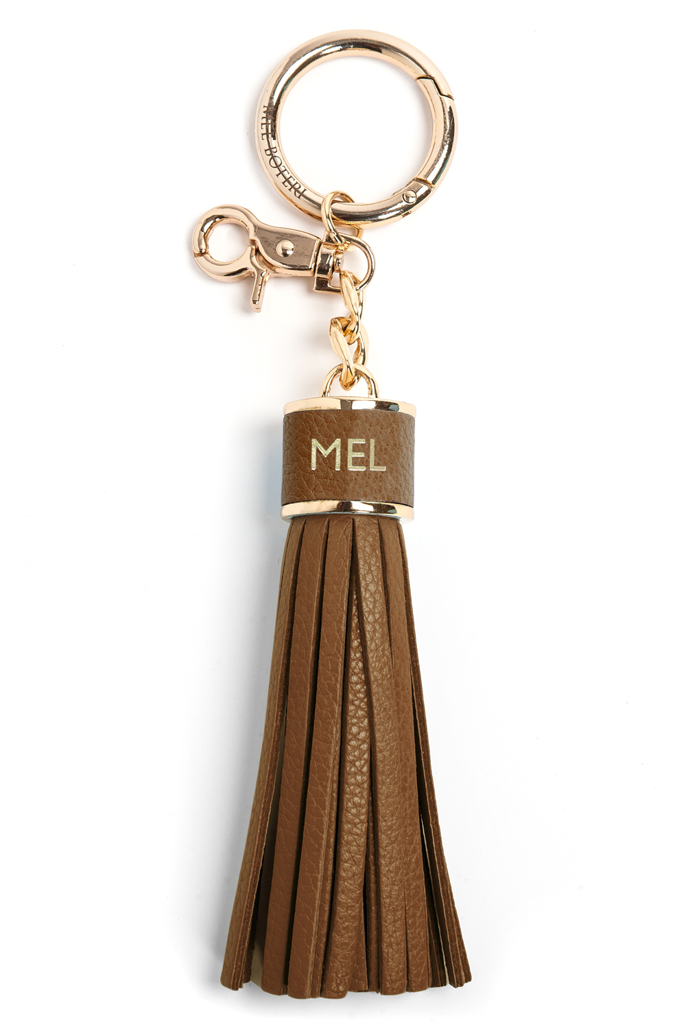 The Mel Boteri Pebbled-Leather Tassel Charm | Oak Leather With Gold Hardware | Mel Boteri Gift Ideas