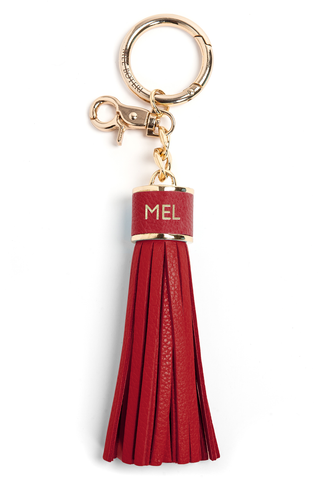 The Mel Boteri Pebbled-Leather Tassel Charm | Ruby Leather With Gold Hardware | Mel Boteri Gift Ideas