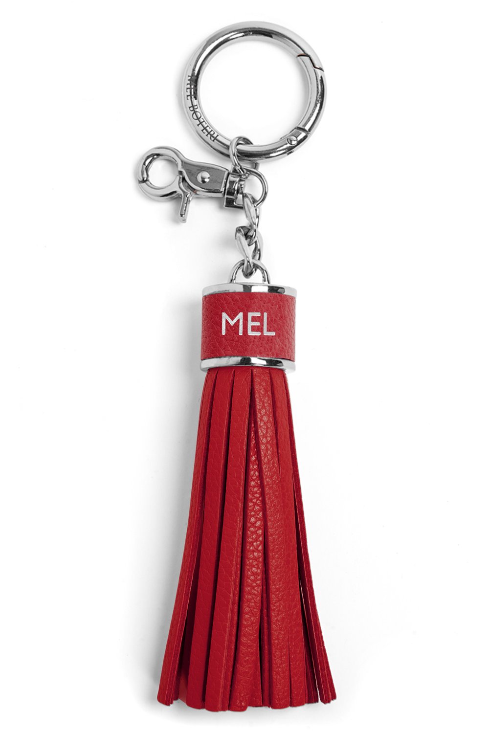 The Mel Boteri Pebbled-Leather Tassel Charm | Ruby Leather With Silver Hardware | Mel Boteri Gift Ideas