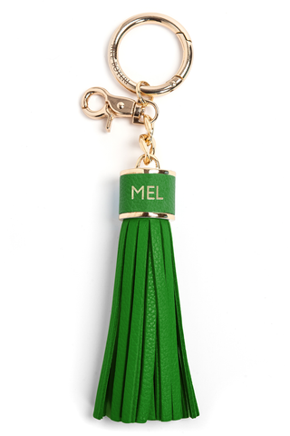 The Mel Boteri Pebbled-Leather Tassel Charm | Shamrock Leather With Gold Hardware | Mel Boteri Gift Ideas