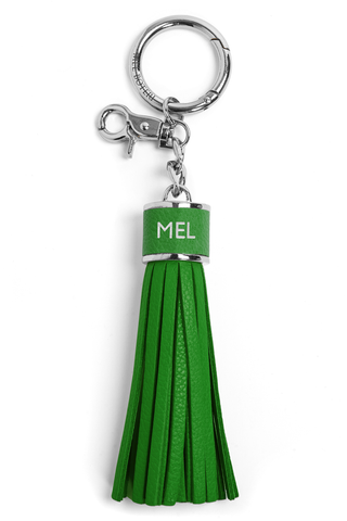 The Mel Boteri Pebbled-Leather Tassel Charm | Shamrock Leather With Silver Hardware | Mel Boteri Gift Ideas