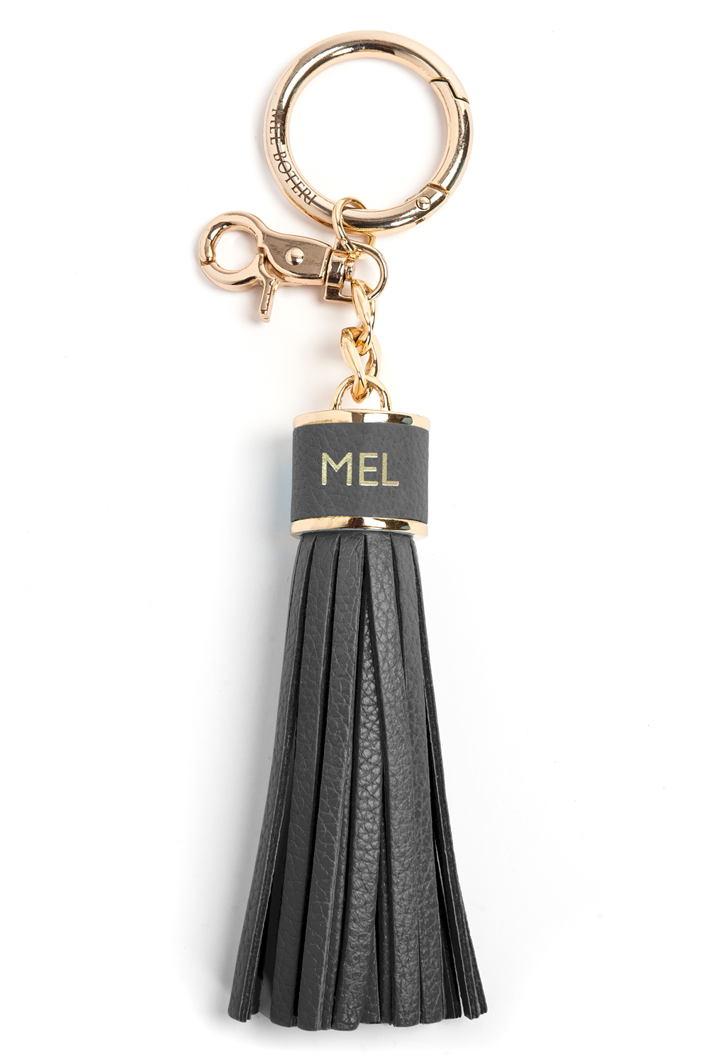 The Mel Boteri Pebbled-Leather Tassel Charm | Stone Leather With Gold Hardware | Mel Boteri Gift Ideas