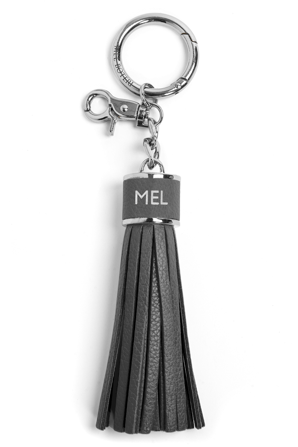 The Mel Boteri Pebbled-Leather Tassel Charm | Stone Leather With Silver Hardware | Mel Boteri Gift Ideas