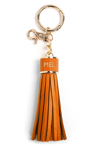 The Mel Boteri Pebbled-Leather Tassel Charm | Tiger Leather With Gold Hardware | Mel Boteri Gift Ideas