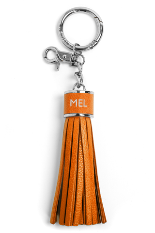The Mel Boteri Pebbled-Leather Tassel Charm | Tiger Leather With Silver Hardware | Mel Boteri Gift Ideas