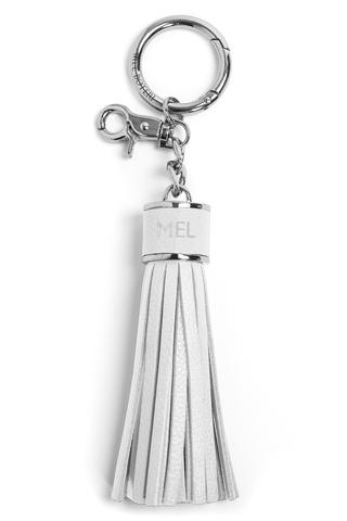 The Mel Boteri Pebbled-Leather Tassel Charm | White Pebbled Leather With Silver Hardware | Mel Boteri Gift Ideas