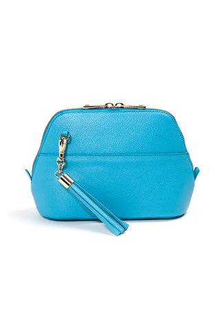 Turquoise Pebbled Leather 'Watson Mini' Cross-Body & Clutch Bag | Mel Boteri | Front