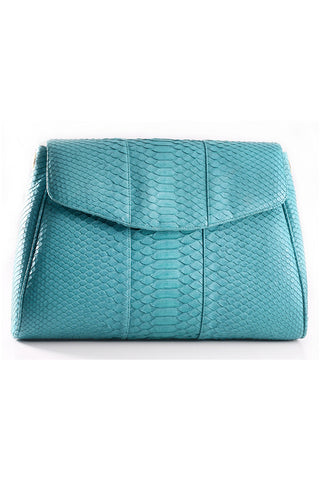Turquoise 'Coco' Small Shoulder Bag - Python | Mel Boteri | Front View