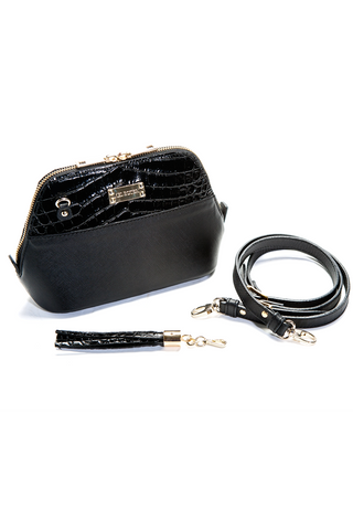 Mel Boteri 'Watson Mini' Cross-Body & Clutch Black Leather Bag | Side View