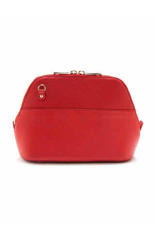 Red Saffiano Leather 'Watson Mini' Cross-Body & Clutch | Mel Boteri | Back