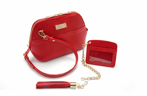 Red Saffiano Leather 'Watson Mini' Cross-Body & Clutch | Mel Boteri | Details