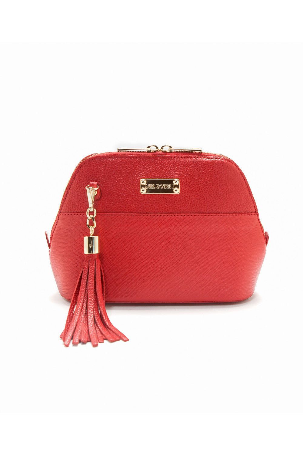 Red Saffiano Leather 'Watson Mini' Cross-Body & Clutch | Mel Boteri | Front