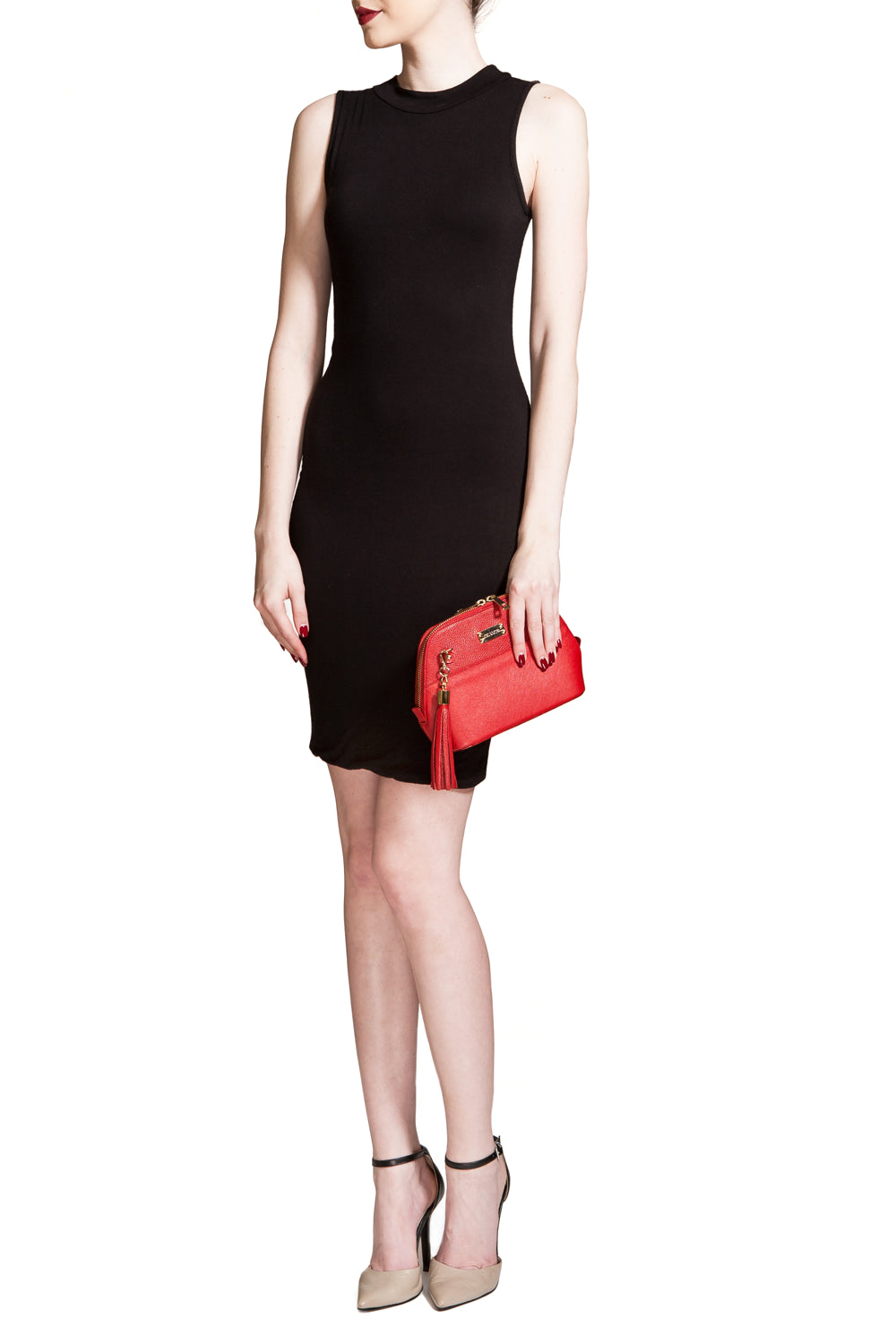 Red Saffiano Leather 'Watson Mini' Cross-Body & Clutch | Mel Boteri | Model Clutch