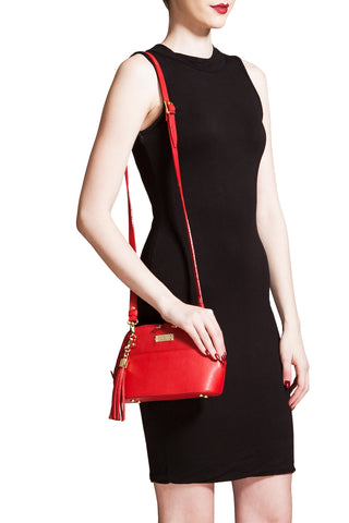 Red Saffiano Leather 'Watson Mini' Cross-Body & Clutch | Mel Boteri | Model With Strap
