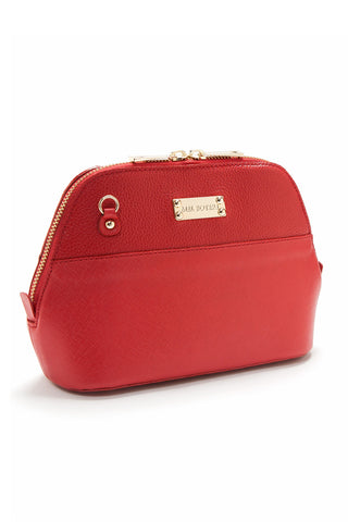 Red Saffiano Leather 'Watson Mini' Cross-Body & Clutch | Mel Boteri | Side