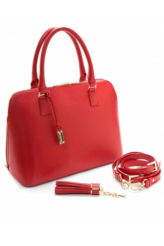 Red Saffiano Leather 'Watson' Tote | Mel Boteri | Detail