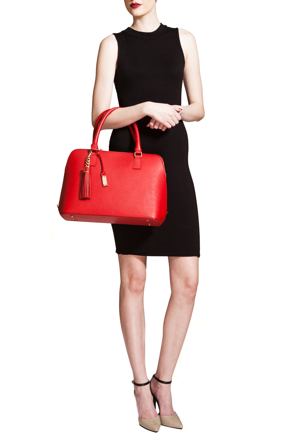 Red Saffiano Leather 'Watson' Tote | Mel Boteri | Model