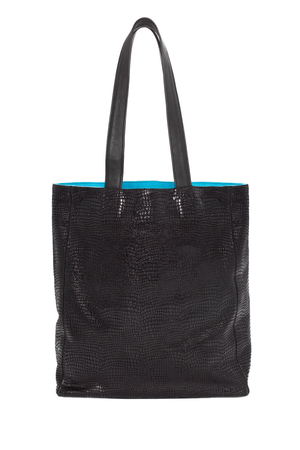 High-Gloss, Lizard-Effect Leather 'Stuart' Carryall Tote | Mel Boteri | Back View