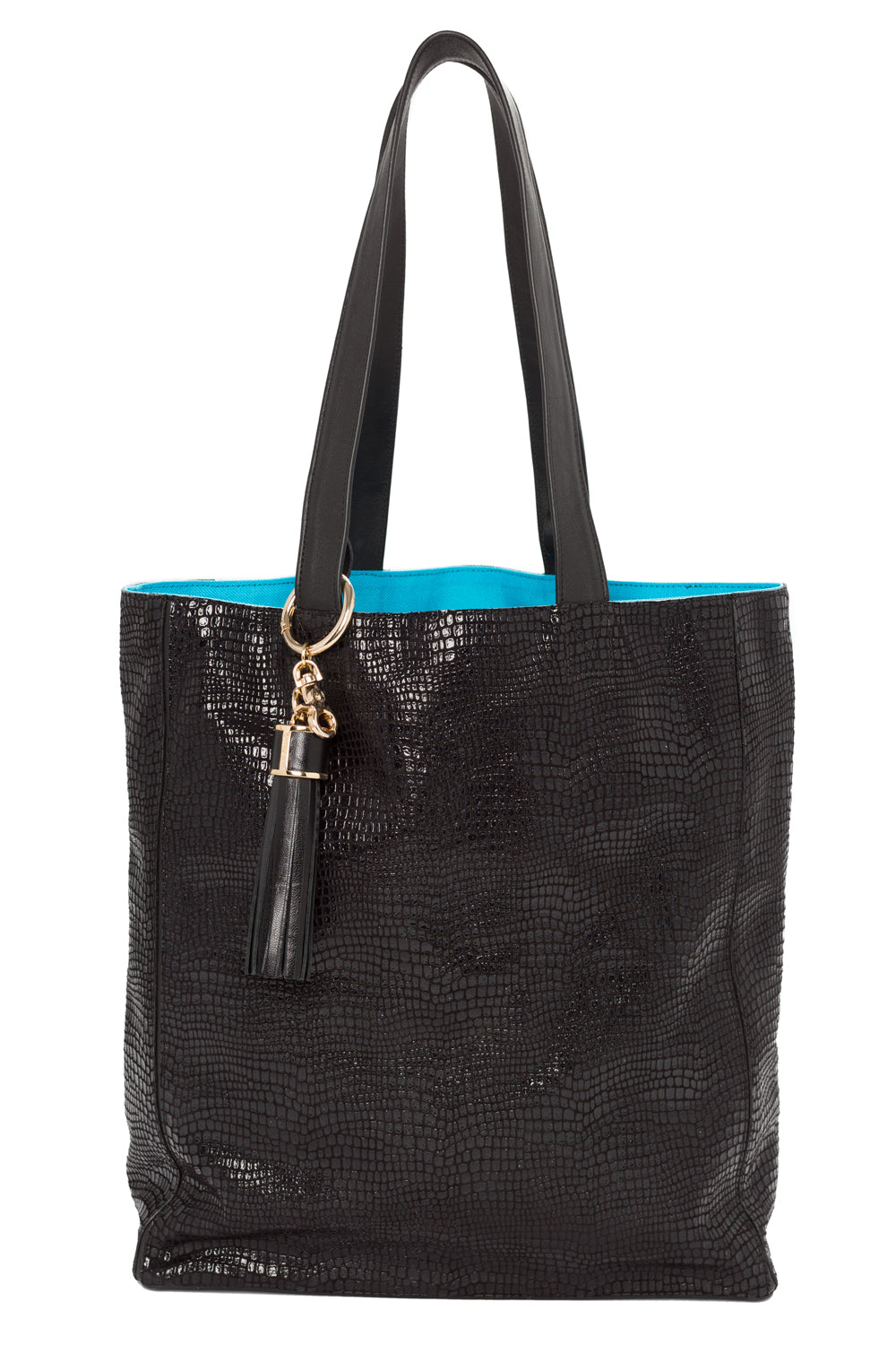 High-Gloss, Lizard-Effect Leather 'Stuart' Carryall Tote | Mel Boteri | Front View