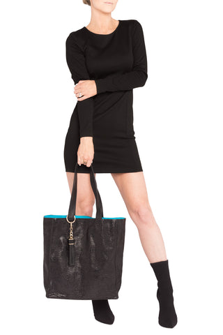 High-Gloss, Lizard-Effect Leather 'Stuart' Carryall Tote | Mel Boteri | Tassel on Model View