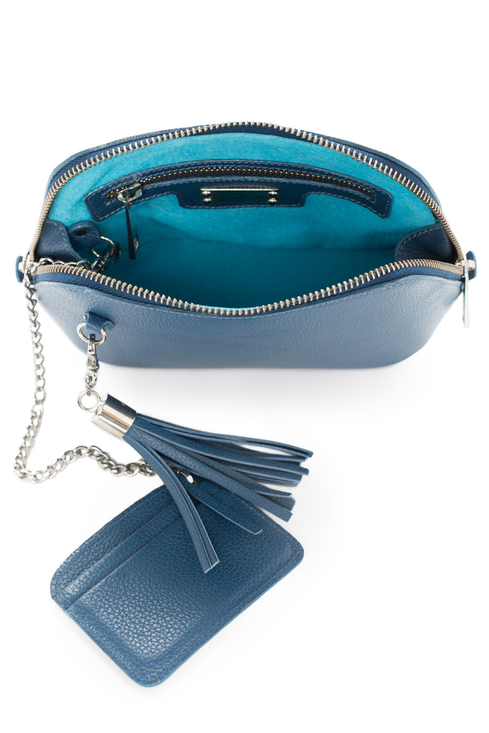 Denim Leather 'Watson Mini' Cross-Body & Clutch Bag | Mel Boteri | Interior View