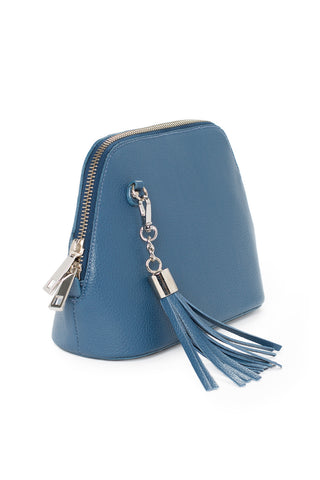 Denim Leather 'Watson Mini' Cross-Body & Clutch Bag | Mel Boteri | Side View